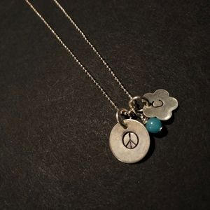 "Handmade, ""C"" and ""Peace"" Necklace"
